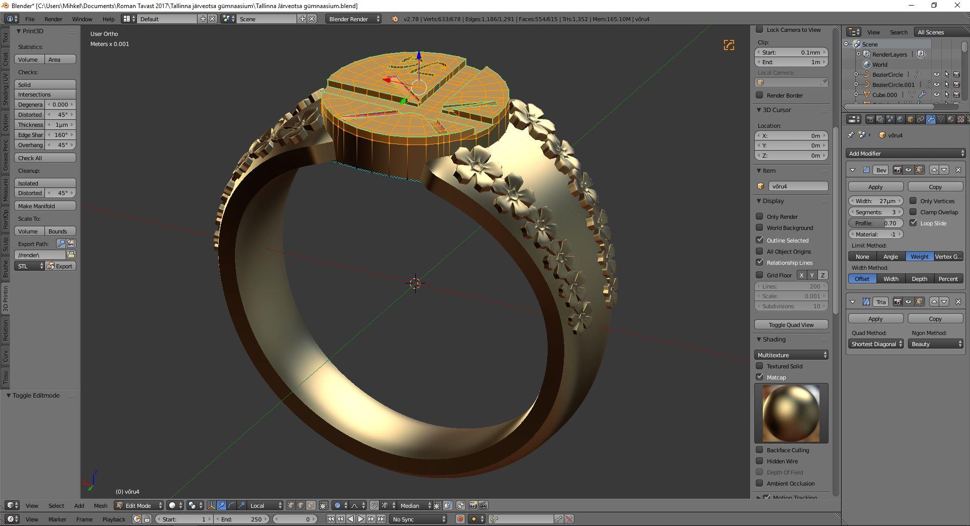 Lõpusõrmuse 3d disain