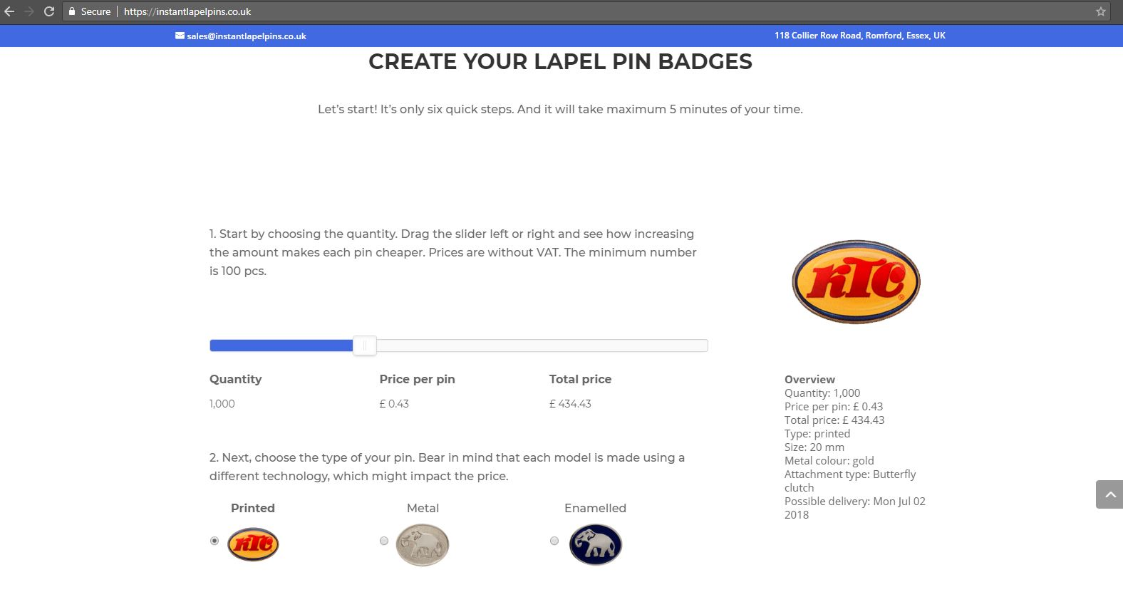 Instant lapel pins