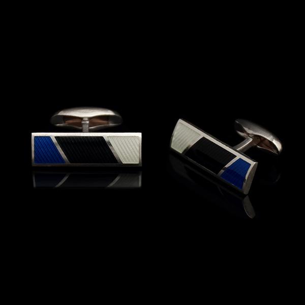 Stripes mansetinööbid, sini-must-valge